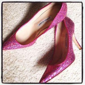 Manolo Blahnik sequined pink pumps